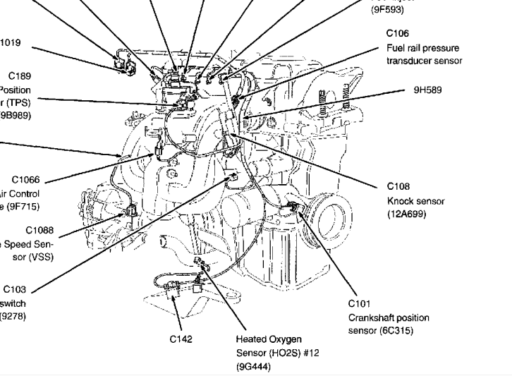Have Codes P0365 P0366 After Replaced The Cam Position Sensor further T12884368 Ecm fuse located nissan together with 2006 Ford Focus Crankshaft Position Sensor Located On 2 besides 1289 Ford Escape Location Cylinder Head Temperature Sensor additionally 2004 Ford Freestar Vacuum Diagram. on focus crankshaft sensor location