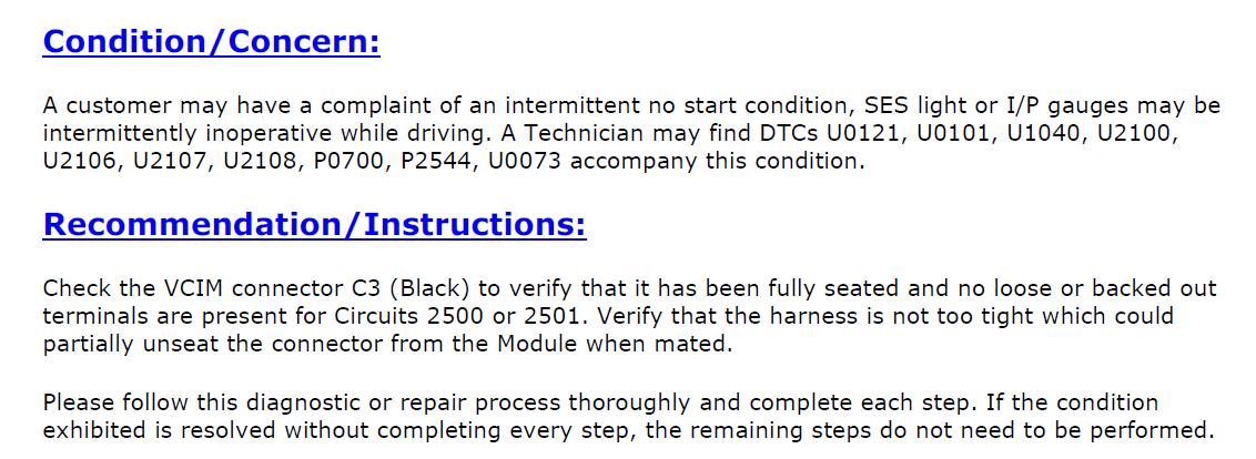 Chevrolet HHR LT gives code U0073 control module communication