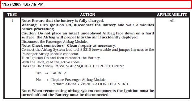 01 Chrysler Pt Cruiser Srs Code Quot Passenger Squib 1