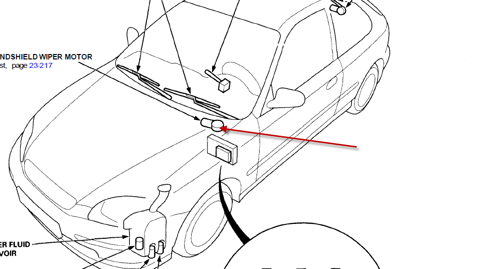 where is wiper motor located