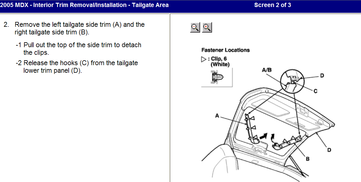 Today I bought the tailgate latch/handle part for a 2005 MDX
